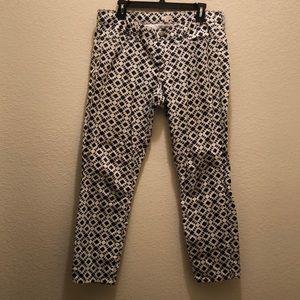 J. Crew Geometric/Aztec Patterned Ankle Jean